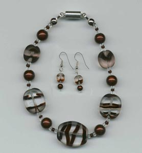 Sold Sets: Brown Swirl Glass Beaded Earring and Bracelet Set