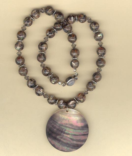Abalone, Moonstone, Swarsovski: Necklace and Bracelet