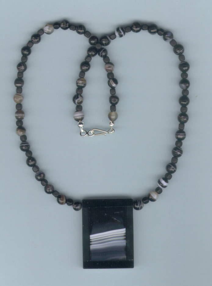 Banded Black Onyx Necklace :  necklace handmade onyx dichroic glass pendant