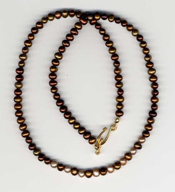 Bronze and Mocha Pearl Necklace