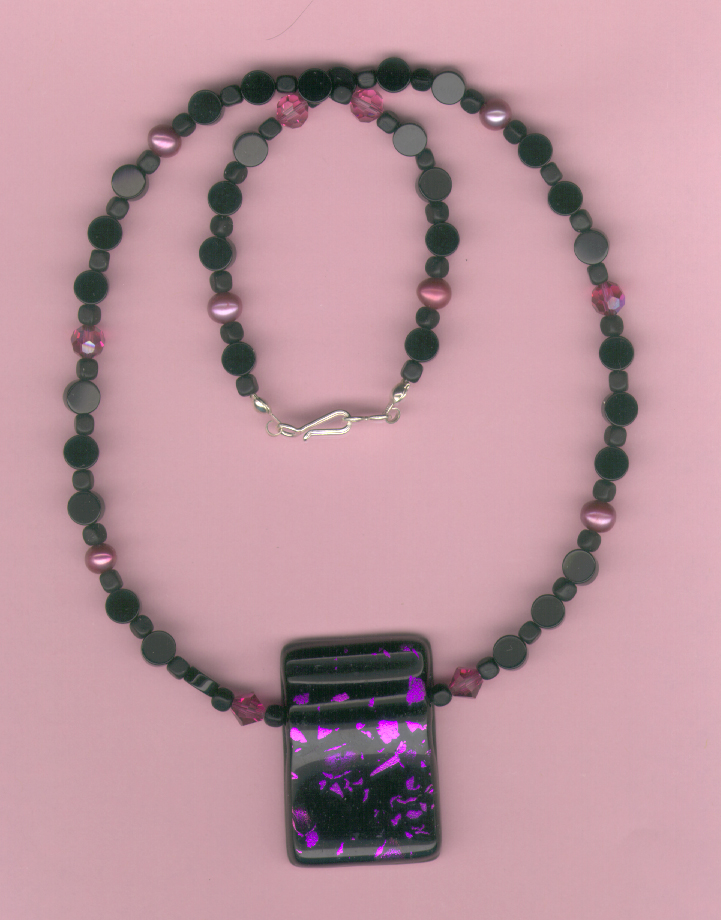 Fuschia Swarovski Onyx Necklace