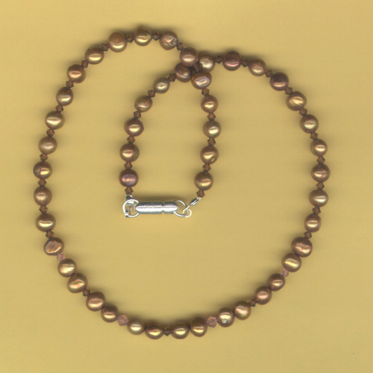 Bronze pearl and Swarovski CrystalNecklace