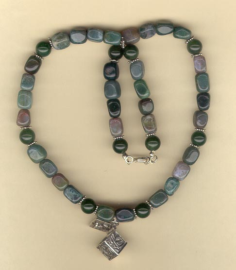 Moss Agate Necklace with Prayer Box Pendant