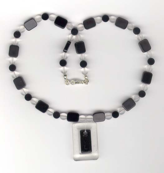 Onyx, Frosted Glass Necklace :  beads handcrafted onyx unique