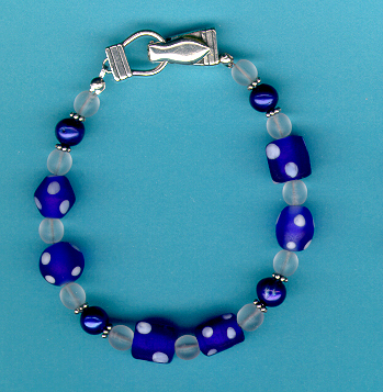 Royal Blue Frosted Glass Beaded Bracelet and Earring Set :  shopping magnetic clasp handcrafted unique