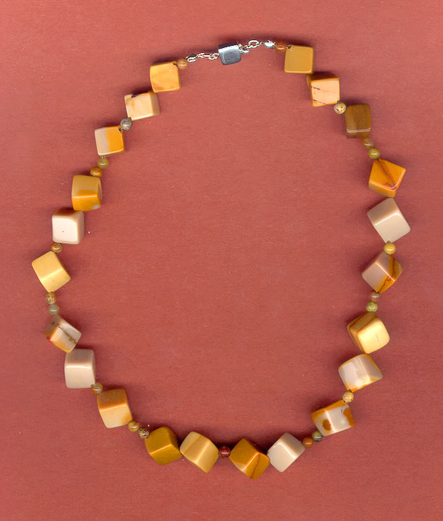 Square Agate Beaded Necklace