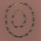 Lime Green Glass and Brown Wood Necklace and Bracelet
