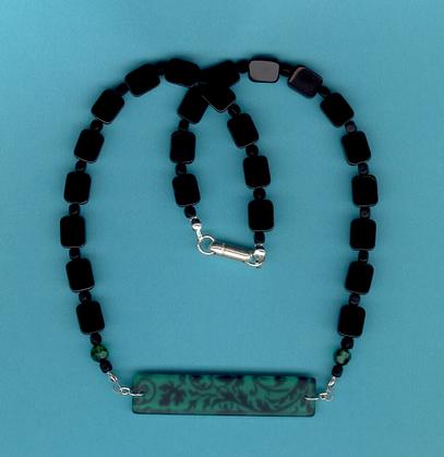 Jewelry at Beadzbiz: Turquoise, Black Toile Choker