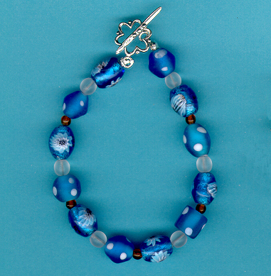 Turquoise Frosted Glass Toggle Bracelet