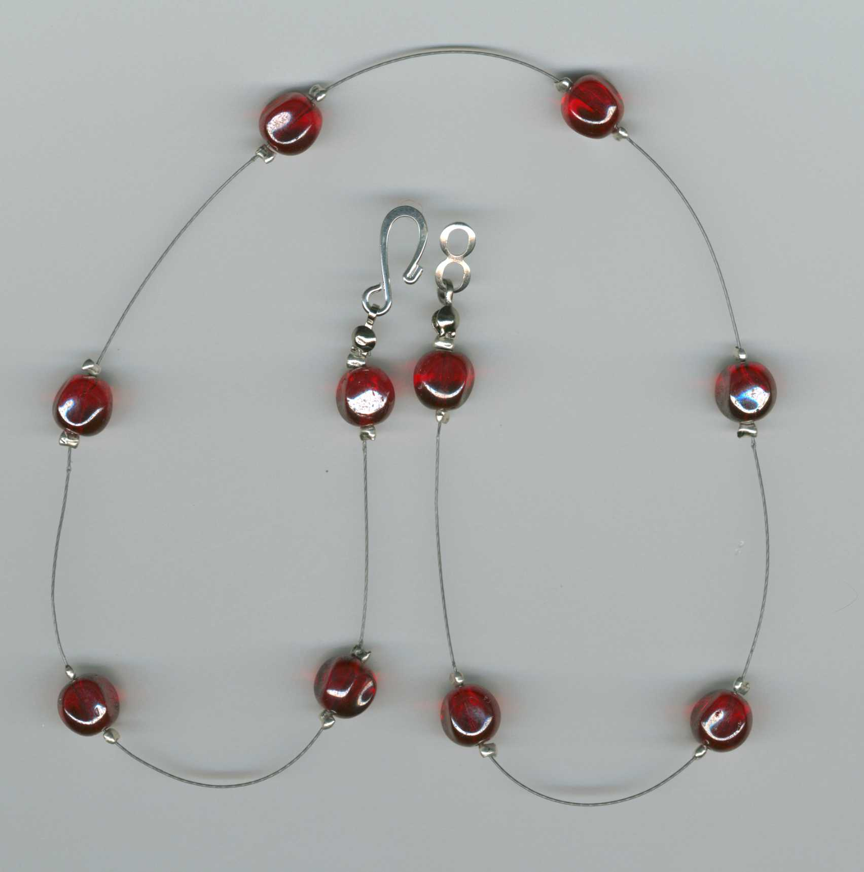 Pinched Red Glass Necklace