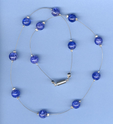 Floating Cracked Royal Blue Glass Bead Necklace